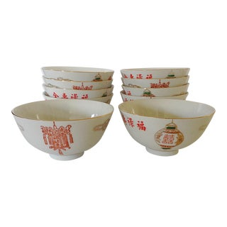 Lantern Chinese Rice Bowls - Set of 10