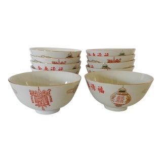 Lantern Chinese Rice Bowls - Set of 10
