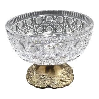 Vintage Cut Crystal Compote Dish on Metal Pedestal