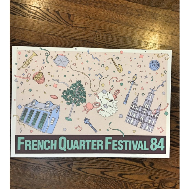 """Vintage """"French Quarter Festival 84"""" Lithographic Poster - Image 2 of 11"""