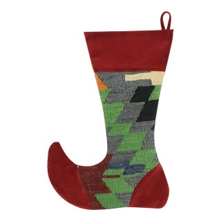 Large Kilim Christmas Stocking | Pine