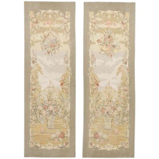 "Chinese Aubusson Wall Tapestries - a Pair 2'10""x 8' Each Panel."