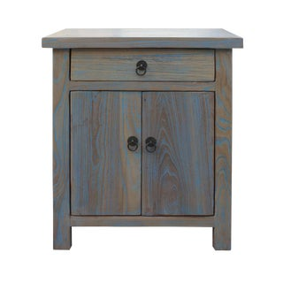 Blue Raw Wood Side Table Nightstand