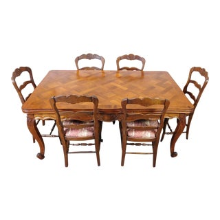 1960s French Country Draw Leaf Table & Chairs