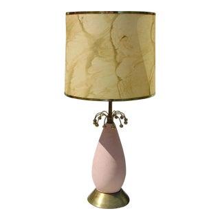 Mid-Century Pink & Gold Ceramic Lamp