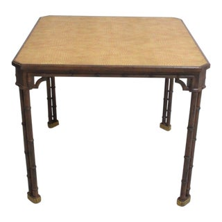 Vintage French Regency Leather Top Faux Alligator Card Table