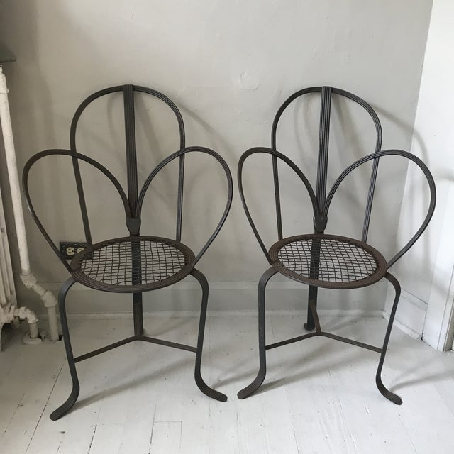 Crate & Barrel Iron Chairs - A Pair - Image 6 of 7