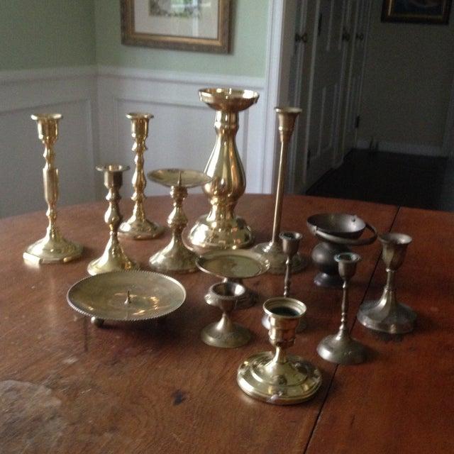 Vintage Brass Candleholders - Set of 14 - Image 2 of 10