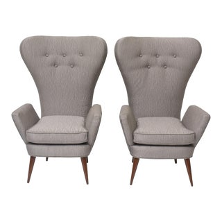 Pair of Italian Modern High Back Chairs, Italy