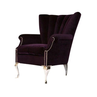 Purple Channel Back Wing Chair