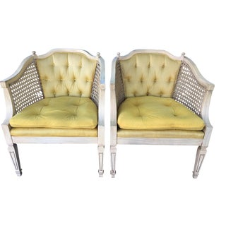 1960s French Provincial Caned Chairs - Pair