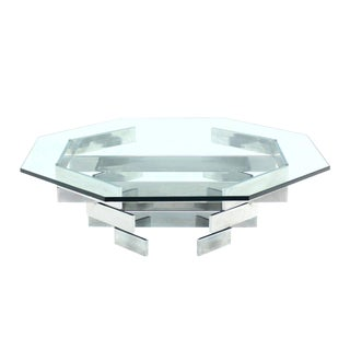 Mid-Century Modern Heavy Stacked Chrome Base Octagonal Coffee Table