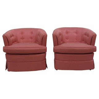 Coral Tufted Lounge Chairs - A Pair