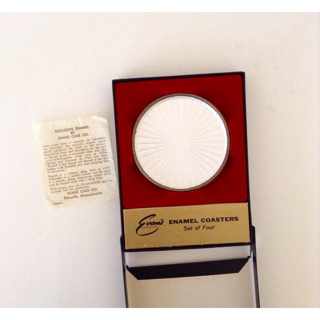 Vintage Pearl White Enamel Coasters - Set of 4 - Image 4 of 5