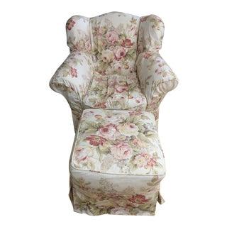 Crate & Barrel Vineyard Wrightford Shereert Chair & Ottoman