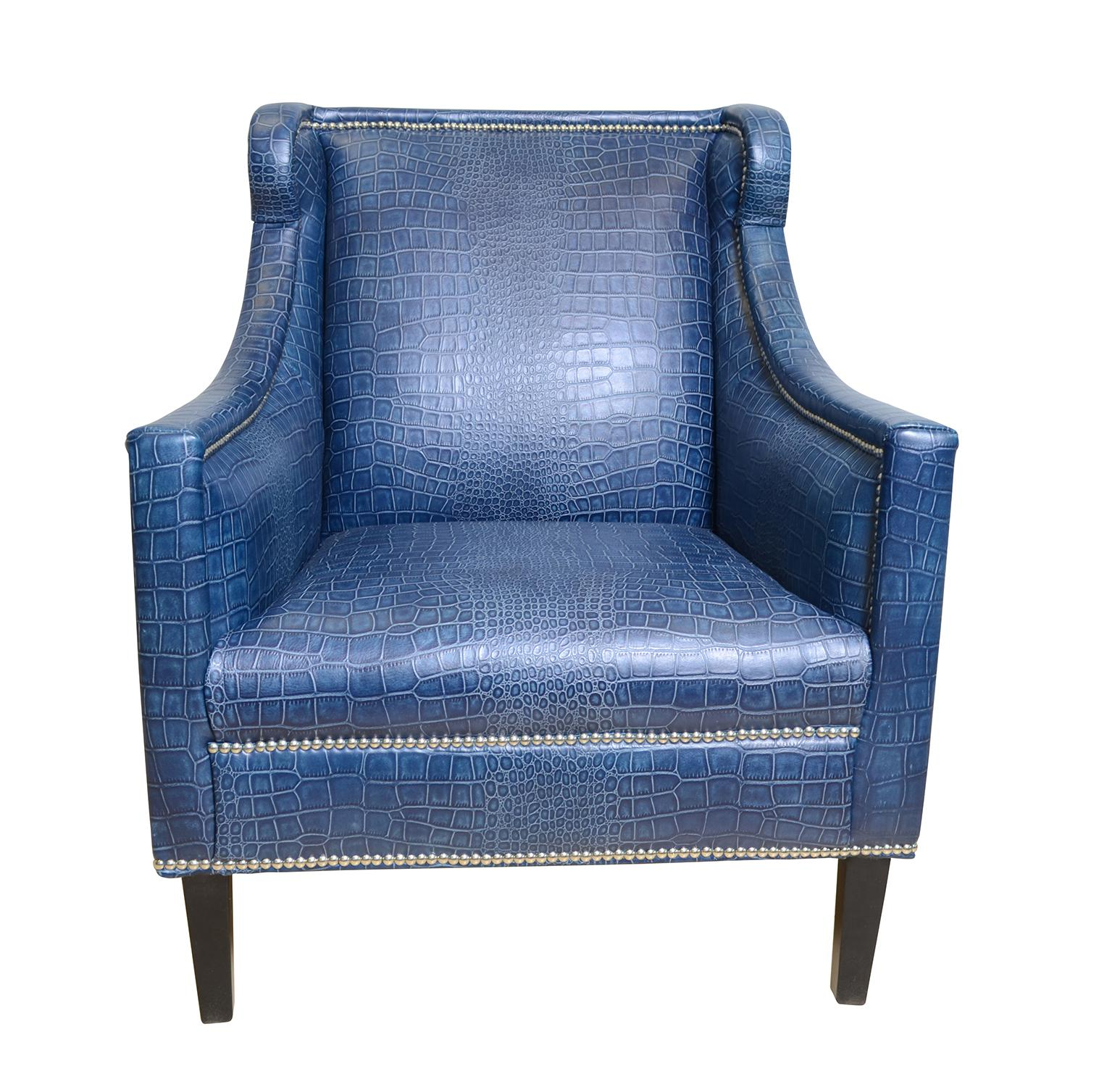 Pasargad Blue Leather Armchair   Image 2 Of 7