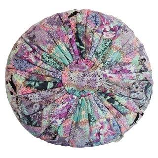 Abstract Floral Batik Pouf Pillow, Blue