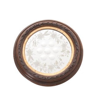 French 19th Century Bull's Eye Etched Glass Round Mirror