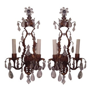 Gilt Metal and Crystal Two Light Wall Sconces - Pair