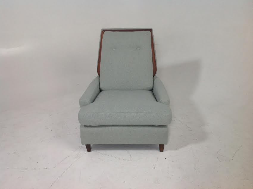 Teal Chenille Mid Century Lounge Chair
