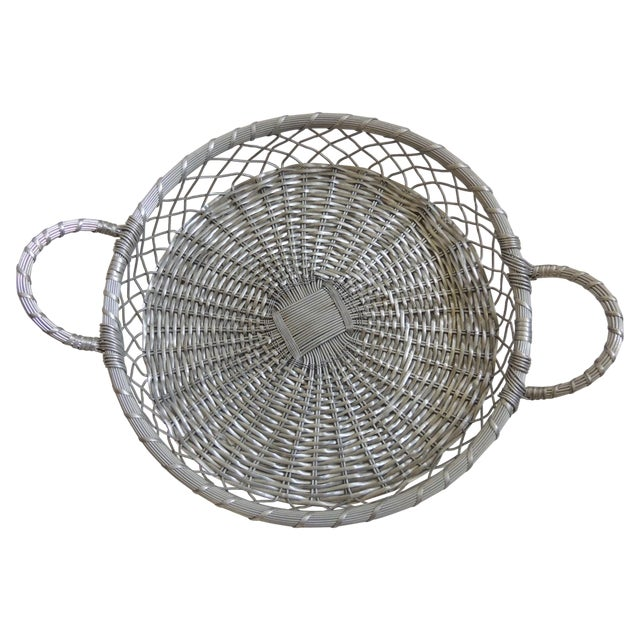 Vintage Large Silver Flat Wire Basket With Handles - Image 1 of 4