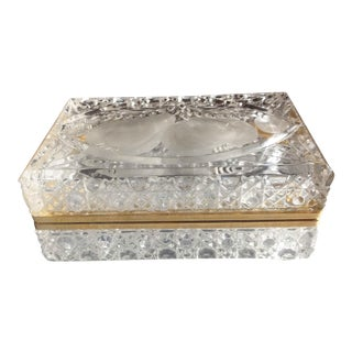 Vintage Crystal Cut Hinged Casket Box