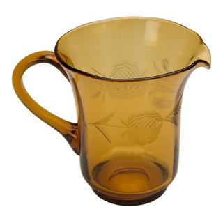 Amber Colour Pressed Glass Pitcher, England c.1950