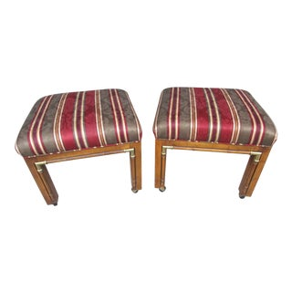 Vintage Upholstered Stools on Casters