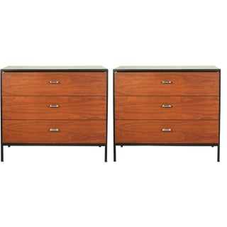 George Nelson 3 Drawer Orange Lacquered Chests - a Pair