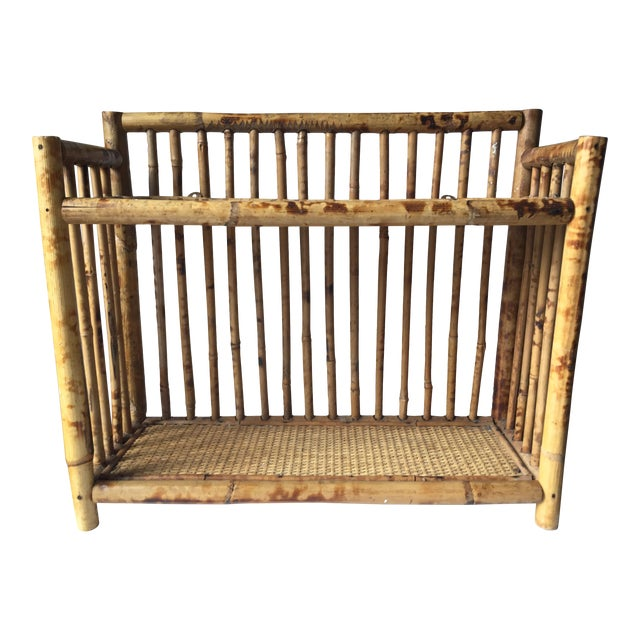 Vintage Scorched Bamboo Rattan Shelf - Image 1 of 6