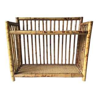 Vintage Scorched Bamboo Rattan Shelf