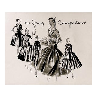 1950's Pen & Ink Fashion Drawings