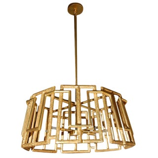 Paul Marra Trellis Chandelier in Gold Leaf