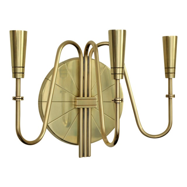 Modern Brass Wall Lamps : Tommi Parzinger for Dorlyn Silversmiths Mid-Century Modern Brass Wall Candle Sconce Chairish