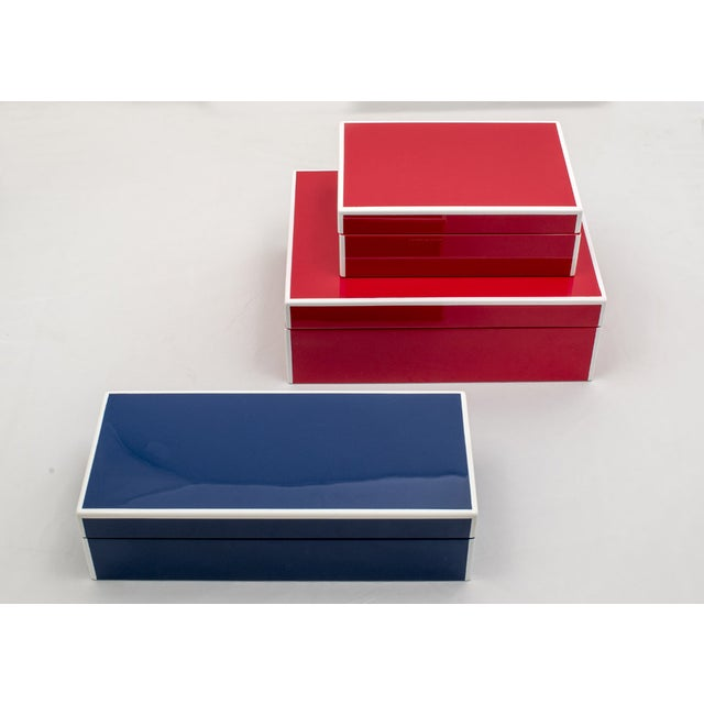 Image of Red Lacquered Boxes - A Pair