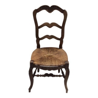 Country French Side Chair With Rush Seat