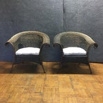 Image of Wood & Iron Outdoor Armchairs W/ Seat Cushions - A Pair