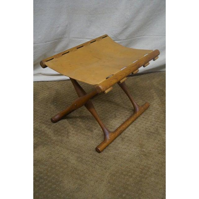 Poul Hundevad 1960s Teak Amp Leather X Base Stool Chairish