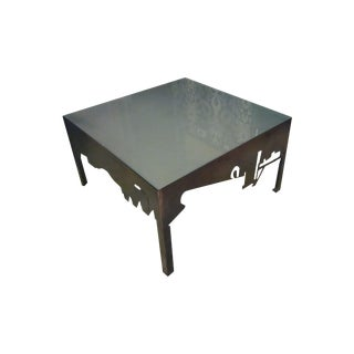 "Plasma Cut Metal & Glass ""Cityscape"" Coffee Table"