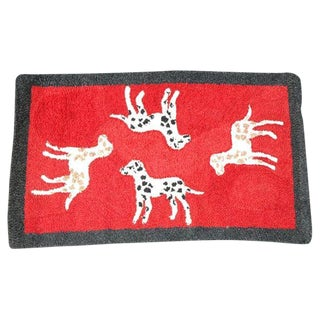 1920s Hand Hooked and Mounted Pictoral Dogs Rug