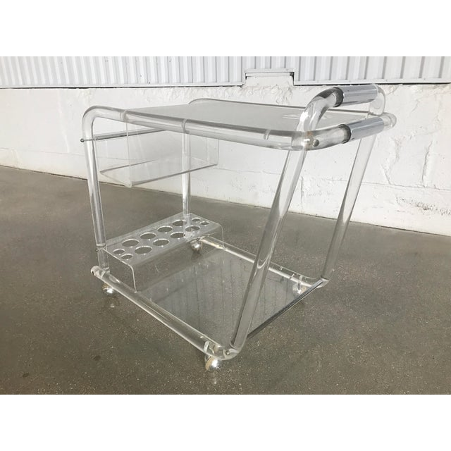 Charles Hollis Jones Mid-Century Modern Lucite Bar Cart - Image 3 of 8