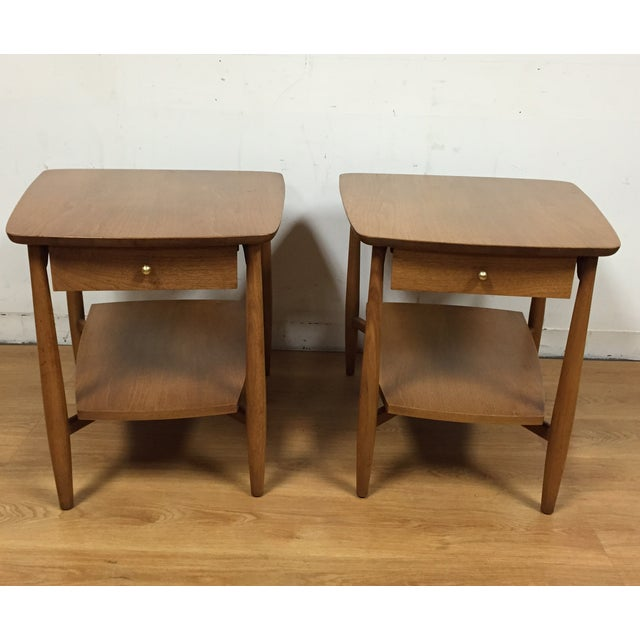 Image of Bleached Walnut End Tables - A Pair