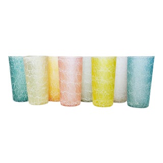Vintage Colorcraft Spaghetti Drizzle Tumblers - Set of 8