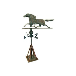 Vintage Copper Horse Weathervane with Stand