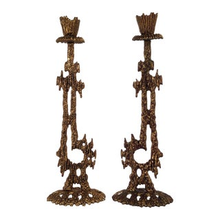 Brutalist Candleholders By Wainberg - A Pair