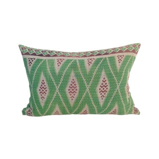Vintage Green Block Printed Kantha Quilt Pillow
