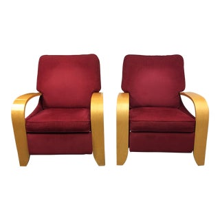 Mid-Century Maple Recliner Chairs - A Pair