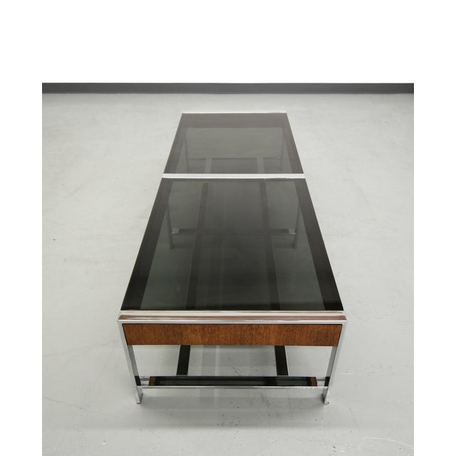 Mid-Century Modern Chrome And Glass Coffee Table - Image 4 of 6