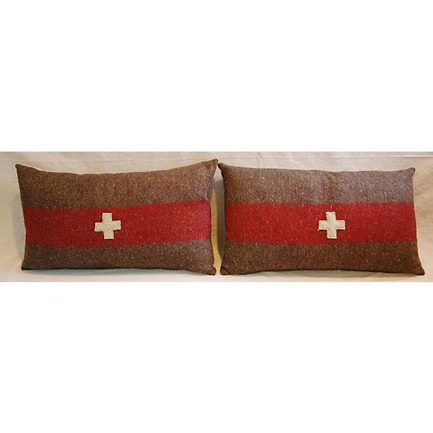 Swiss Wool Appliqué Cross Lumbar Pillows - Pair - Image 4 of 8