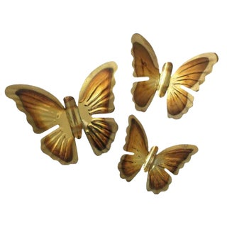 Vintage Brass Butterflies - Set of 3
